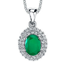 Sterling Silver Cubic Zirconia Oval Green Emerald Pendant necklace with Chain