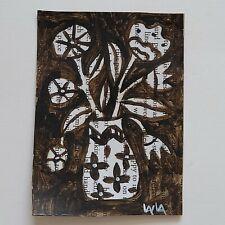 ORIGINAL ACEO Folk Art Flower Pot Vase Leaf Stem Still Life Botanical Whimsical