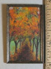 "Dollhouse Miniature Painting ""Autumn Lane"" OOAK Artist made 1:12 sc LesBonArts"