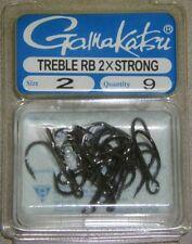GAMAKATSU TREBLE HOOK ROUND BEND Replacment Hooks 2X STRONG #2 57409 NSB Black