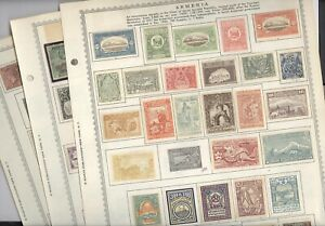 ARMENIA &, ASCENSION, ANTIGUA,  Excellent assortment of Stamps hinged on Minkus