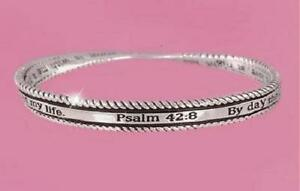 "Psalm 42:8 Twisted Bangle Bracelet ""By Day The Lord Directs His Love"" Bracelet"