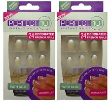 2 x PERFECT 10 INSTANT FALSE NAIL SILVER & WHITE FRENCH TIPS WANDERLUST NAILS