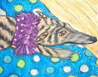 Greyhound Collectible Pizzazz Dog Art Print 4 x 6 Signed Artist Signed KSams