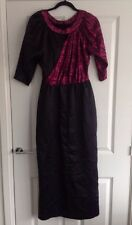 VINTAGE 60s 70s BLACK PINK LUREX MAXI COCKTAIL DRESS HOSTESS SIZE 10