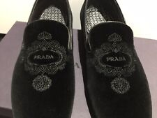 BNIB Prada Velluto Slippers With Prada Logo Embroidery Loafers Shoes Sz 9.5 $750