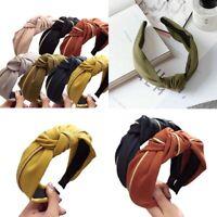 Women Knot Bow Cross AU Wide Hoop Headwear Headband Tie Hair Band Twist Hairband