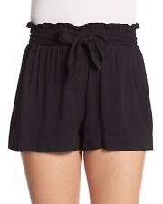 BCBGeneration Women's Black Waist-Tie Solid Casual Shorts Sz S i15