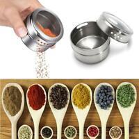 Magnetic Stainless Steel Spice Pot Herb Jar Tins Storage Holder Cook 6.5*4. I2A5