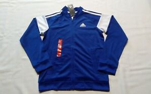 Adidas  Full Zip Track Jacket  Boys Large   Performance  Logo  Royal Blue  NWT