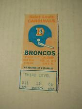 1973 NFL GAME TICKET STUB St. Louis CARDINALS @ Denver BRONCOS 8/18/1973