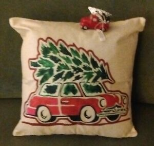 "Christmas Red Car w/Tree on Roof Cushion Pillow Burlap Linen Cover 18""x18""+BONUS"