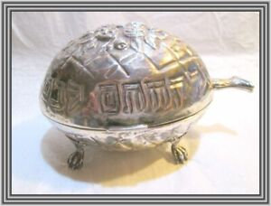 """HAZORFIM c1950s Sterling - JUDAICA - 6.5"""" FLORAL REPOUSSE FOOTED ETROG BOX NR"""