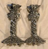Arthur Court Grape Pillar Candle Holders Set of 2 (Excellent Condition) VINTAGE