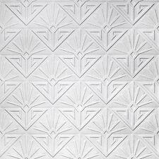 anaglypta Art Déco PARADISO Carta da Parati Lusso pitturabile bianco soffiato