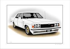 HOLDEN HZ  GTS  SEDAN  LIMITED EDITION  CAR DRAWING  PRINT (6 CAR COLOURS)