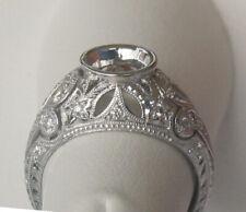 ANTIQUE STYLE DIAMOND RING SEMI MOUNT 14K WHITE GOLD
