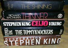 Stephen King HC Lot X 5 - Cujo/Desperation/Thinner/Shining/Tommyknockers BC/1st