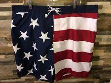 Mens USA Flag Swim Trunks Size 2XL Mesh Lining Red White & Blue St Johns Bay New