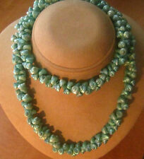 Vintage Iridescent Turquoise Opalescent Dyed Trochus Shell Necklace 56g