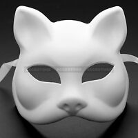 Plain White Venetian Masquerade Cat Mask Costume Mardi Gras DIY Women Party Mask
