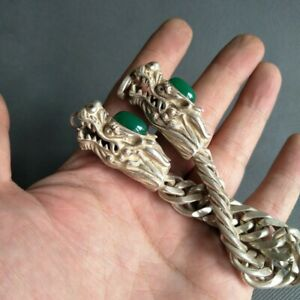 Chinese Old Tibet Silver Carved Dragon head bracelet inlaid with green jade