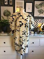 H M Trend Dress 10 Puff Sleeves Shoulders Floral Designer Inspired Black Cream