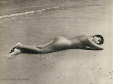 1950s Vintage Female Nude Woman By FRITZ HENLE Beach Wave Sun Photo Gravure Art