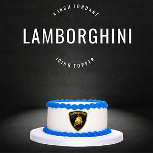 "PRE CUT 4"" Lamborghini Edible Icing Logo Cake Topper Decorations Birthday"