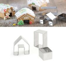3Pcs Christmas Gingerbread House Cookie Stainless Steel Cutter Set Biscuit Mold