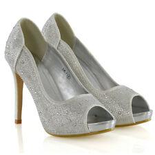 Womens Diamante Party Shoes Ladies Platform PEEP Toe Bridal Evening Dressy HEELS UK 5 / EU 38 / US 7 Silver