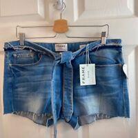 FRAME Denim Womens Jean Shorts Blue Stretch Tie Waist Mid Rise Raw Hem 30 New
