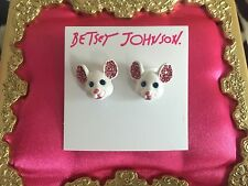 Betsey Johnson Princess Charming White Mouse Head Pink Crystal Stud Earrings