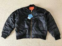 NWT Men's MA-1 Solid Black Orange Waterproof Reversible Bomber Flight Zip Jacket