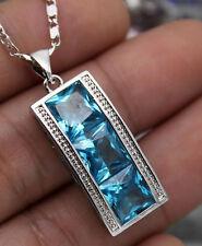 18K White Gold Filled - 8MM Square Blue Topaz Noble Cocktail Pendant Necklace