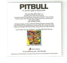 "PITBULL FT JENNIFER LOPEZ / JLO ""WE ARE THE ONE (OLE OLA) RARE SONY CD PROMO"