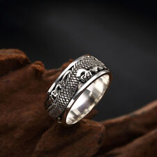 viking Odin 's 925 Sterling Silver Realistic Dragon silver Turning ring Jewelry
