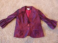 Avenue Fashion blazer in bright red/burgundy with designer style accents, size M