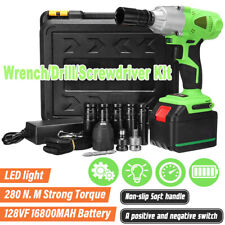 12 Electric Impact Wrench Rattle Nut Gun Cordless 16800 Li Ion Battery With Led