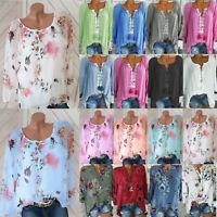 Damen Sommer Blumen Bluse Langarm Longshirt Longtop Shirts Oberteil 42 44 46 48