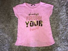 Girls Clothes pink top floor your heart motif age 6-7 years