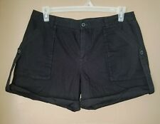 Ruff Hewn Womens Black Cuffed Shorts Size 12
