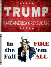 3x5 Donald Trump Red & In The Fall Fire 'em All Wholesale Flag Set 3'x5'