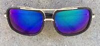 Mac One Mach Metal Bar Oversized Square Aviator Men Designer Sunglasses Shades