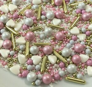 Cupcake Sprinkles Pink White Gold Mix Edible Cakesicle Cake Toppers Decorations