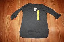 NWT Womens NAUTICA  Dark Heather Gray V-Neck Roll Tab Shirt Size S Small