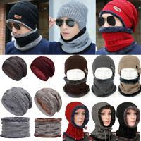 Women Men Slouch Knit Beanie Hat Scarf Set Full Neck Crochet Skateboard Ski Cap