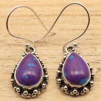 Drop PURPLE COPPER TURQUOISE Earrings 925 Silver Plated Jewelry