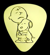 Snoopy Hugs Charlie Brown - Solid Brass Guitar Pick, Acoustic, Electric, Bass
