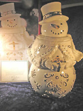 "Lenox Florentine & Pearlized ""Snowman"" Cookie Jar 24K Gold Accents 2297/5000 Mib"